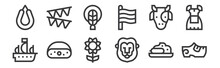 12 Set Of Linear Holland Icons. Thin Outline Icons Such As Clogs, Lion, Cheese, Cow, Braid, Garland For Web, Mobile.