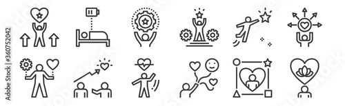 Foto 12 set of linear work life balance icons