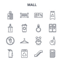 Set Of 16 Mall Concept Vector ...