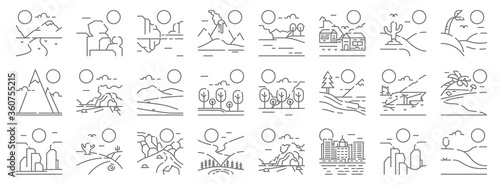 Obraz landscape line icons. linear set. quality vector line set such as hills, city, northern lights, grand canyon, earthquake, steppe, oasis, lake, rock - fototapety do salonu