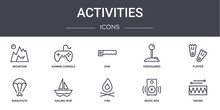 Activities Concept Line Icons Set. Contains Icons Usable For Web, Logo, Ui/ux Such As Gaming Console, Videogames, Parachute, Fire, Music Box, Drums, Flipper, Saw