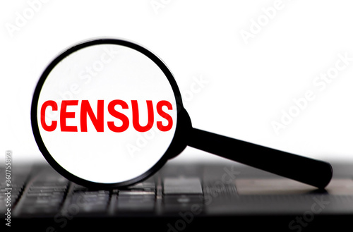 Fototapeta Census word on memo note throught the loupe magnifier