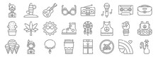 Hippies Line Icons. Linear Set...