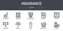 Insurance Concept Line Icons S...