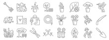 Gardening Line Icons. Linear Set. Quality Vector Line Set Such As Shovel, Tree, Sprouts, , Bee, Garden Tool, Humming Bird, Snake Plant, Waterfall