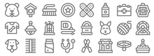 Pet Shop Line Icons. Linear Set. Quality Vector Line Set Such As Cat Box, Pet Shop, Stethoscope, Dog, Yarn Ball, Bird Cage, Pet Carrier, Band Aid, Birdhouse