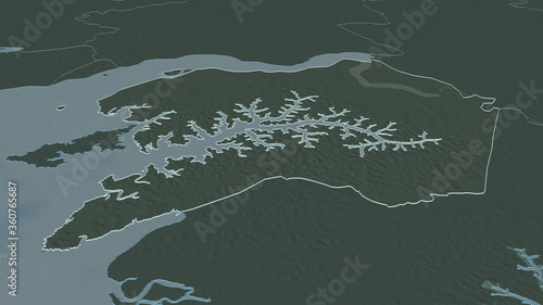 Quinara, Guinea-Bissau - outlined. Administrative Canvas Print