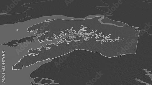 Photo Quinara, Guinea-Bissau - outlined. Bilevel