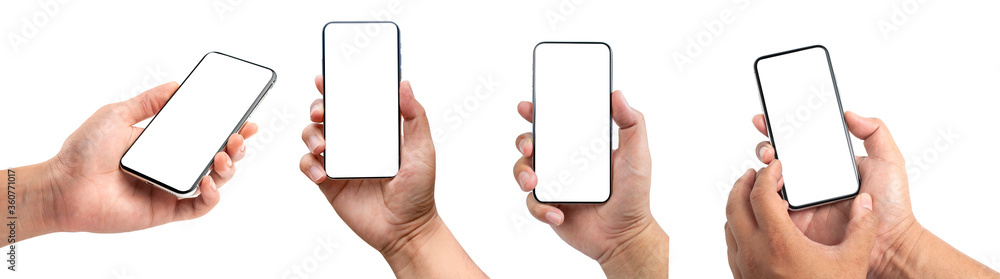 Fototapeta Closeup studio shot, collection of hand holding phone blank touch screen. isolated on white background. Business man hand holding a modern smartphone.