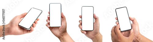 Closeup studio shot, collection of hand holding phone blank touch screen. isolated on white background. Business man hand holding a modern smartphone.