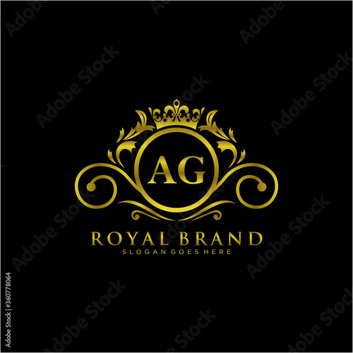 AG Letter Initial Luxurious Brand Logo Template. Canvas Print