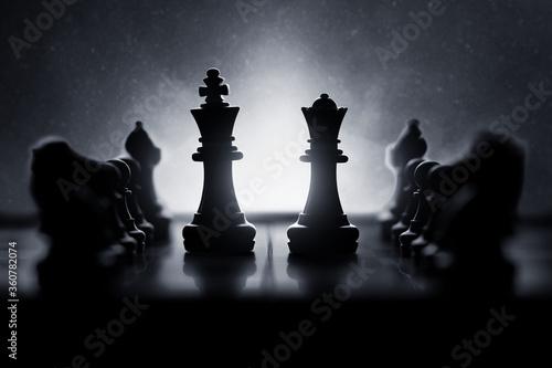 Obraz na plátně Chess pieces on chess board