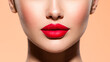 Leinwanddruck Bild - Beautiful white girl with a red lipstick on lips. Stunning brunette girl with long black hair. Closeup face of young beautiful woman with a healthy clean skin. Pretty woman with bright makeup