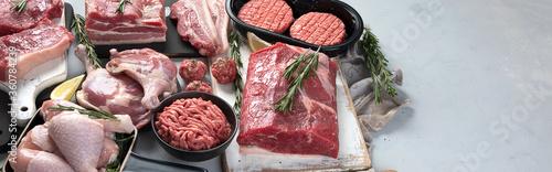 Fotografia Assortment of raw meats