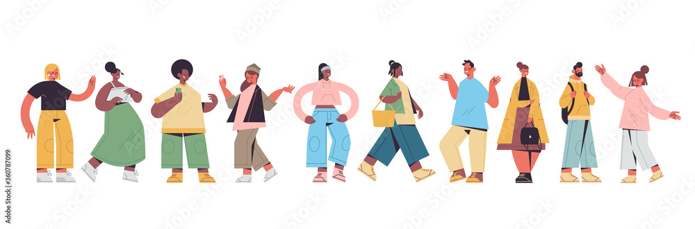 Fototapeta set cute people in casual trendy clothes mix race men women standing in different poses, male female cartoon characters collection full length isolated horizontal vector illustration