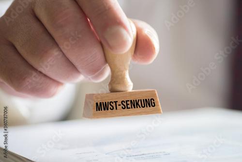 Obraz na plátne Ein Stempel Senkung Mehrwertsteuer
