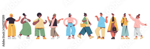 set cute people in casual trendy clothes mix race men women standing in different poses, male female cartoon characters collection full length isolated horizontal vector illustration - 360787099