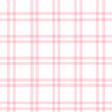 Seamless Tartan Girly Pattern, Plaid Print, Checkered Pink Paint Brush Strokes. Gingham. Rhombus And Squares Texture For Textile: Shirts, Tablecloths, Clothes,
