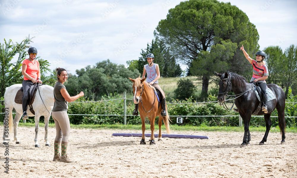 Fototapeta riding girl and horse