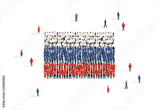 Photo People forming national flag of Russian Federation against white background, vec