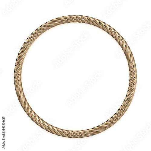 Golden rope circle 3d rendering Slika na platnu