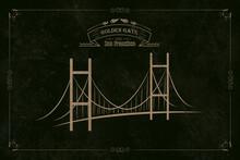 San Francisco Golden Gate Bridge On A Black Background. Illustration. Vintage Style Postcard