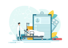 Intensive Therapy. Vector Illustration Of Doctor Taking Care Of Patient After Surgery