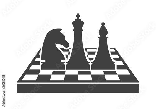 Vászonkép Black chess logo template