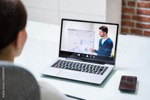Fototapeta Online Virtual Video Training With Coach obraz na płótnie