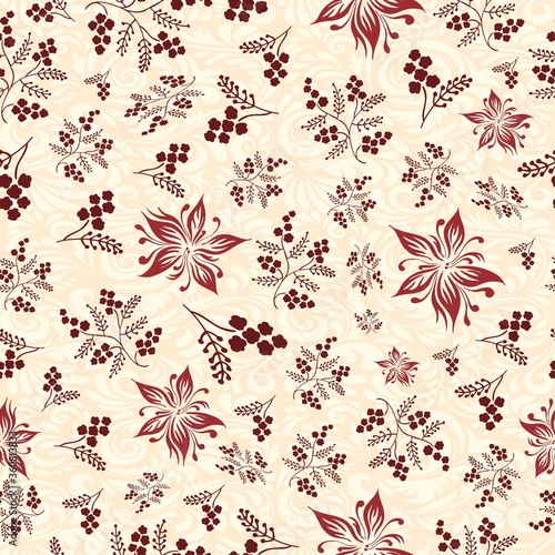 Floral seamless pattern with brown flowers and berries. Used for textile, fabric and wall tiles