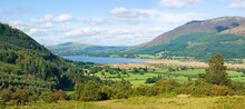 Early Autumn View Of Bassenthwaite Lake In The Lake District, Cumbria, England, Taken From Whinlater Pass.  Skiddaw Mountain And Binsey Hill In The Distance.