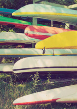 Kayaks Stacked On Racks