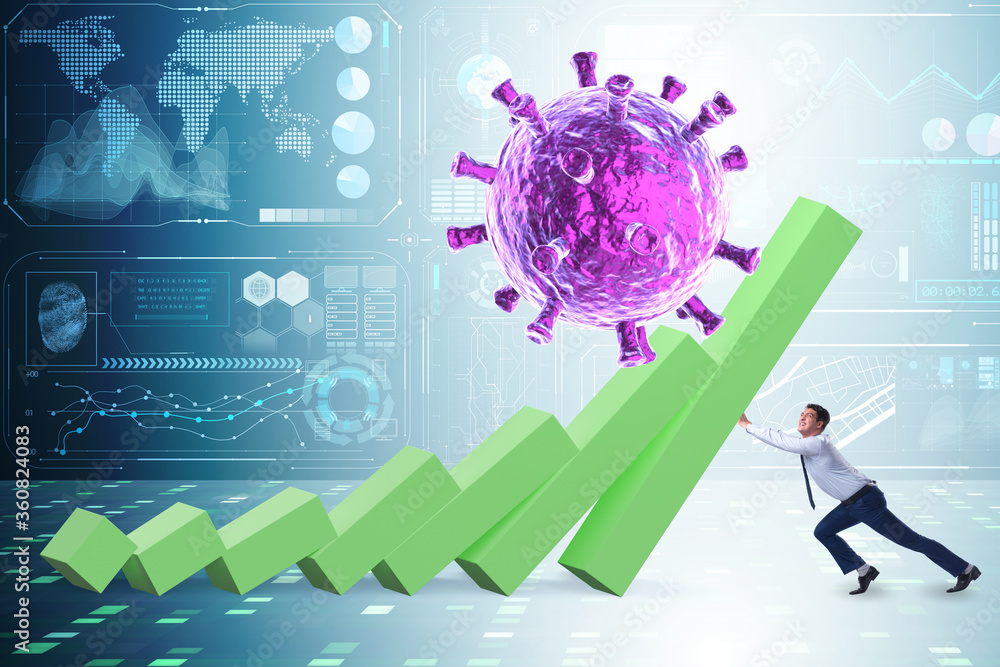 Fototapeta Concept of economic crisis from coronavirus covid-19
