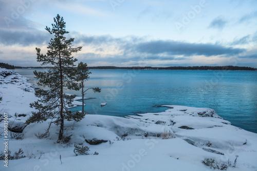Fotografija Rocky shore of Lake Ladoga. Leningrad region, Russia