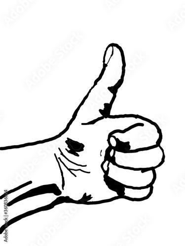 Fototapeta gezeichnete Hand mit einem Daumen hoch Zeichen