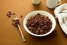 Chocolate Cereal Rings In Bowl...