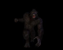 3d Illustration Of An Aggressive Bigfoot/sasquatch/gugwe
