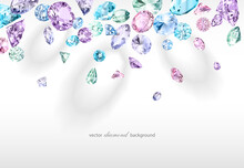 Vector Luxury Colorful Background With Diamonds For Modern Design