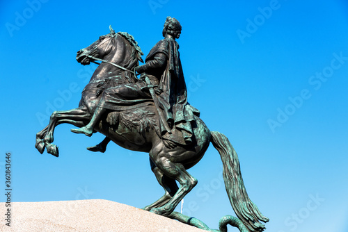 Canvastavla SANKT PETERSBURG, RUSSIA - APRIL 29, 2019: Bronze Horseman (Monument to Peter the Great) on the Senate Square in St