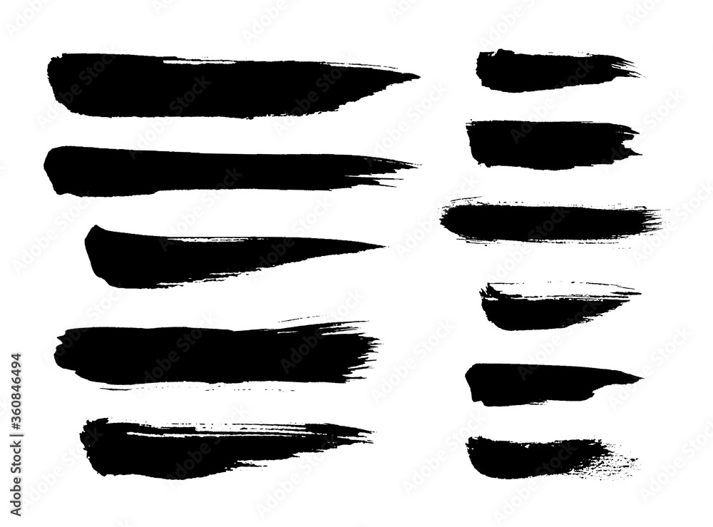Fototapeta Grunge brush strokes, ribbons. Ink painting. Set collection. Vector. Black and white, monochrome. Hand drawn, paper texture