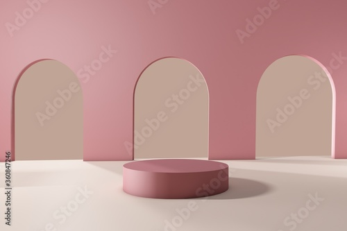 3d render, Archway, Cosmetic background for product presentation, fashion produc Canvas Print