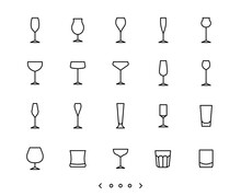 Glassware Line Icon Set Vector
