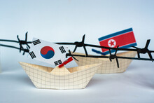 Paper Ship With Flags Of North...