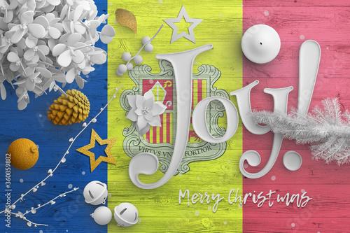 Andorra flag on wooden table with joy text Canvas Print