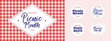 National Picnic Month. July. Banners, Posters, Template, Set, Typography. Vector Illustration