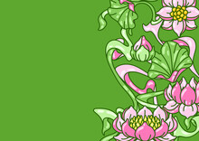 Background With Lotus Flowers....