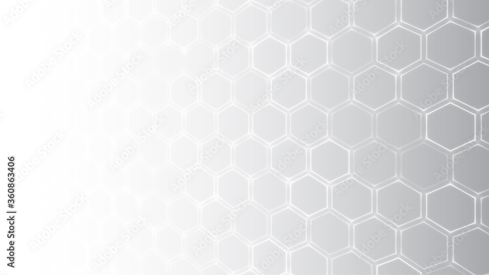 Fototapeta Abstract white background. Futuristic hexagon pattern. Black and white gradient backdrop. Gray polygon perspective texture. Chemistry, medicine or technology concept. Stock vector illustration