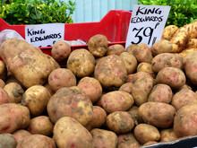 Fresh King Edward Potatoes On Sale At The Weekly Farmers' Market In The Rural English Town Of Whitchurch, Shropshire, UK