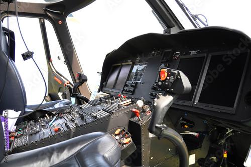 Fototapeta Control panel and control equipment of plane in cockpit