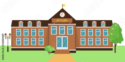 School building exterior vector illustration.